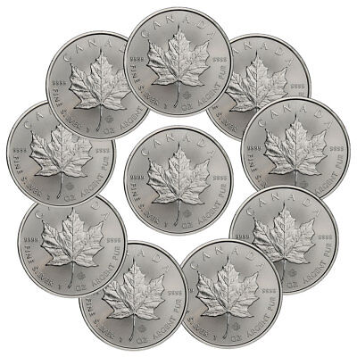 Lot of 10 - 2018 Canada 1 oz Silver Maple Leaf $5 Coins GEM BU Coins SKU49795