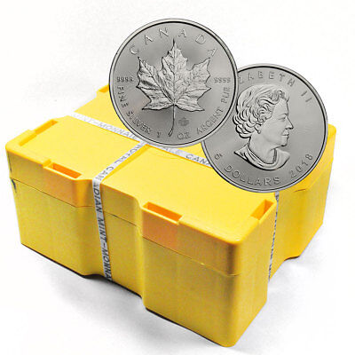Monster Box of 500 -2018 1 oz Silver Maple Leaf $5 Coins GEM BU Coins SKU49799