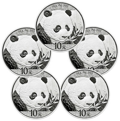 Lot of 5 - 2018 China 30 g Silver Panda ¥10 Coins GEM BU Caps SKU50509