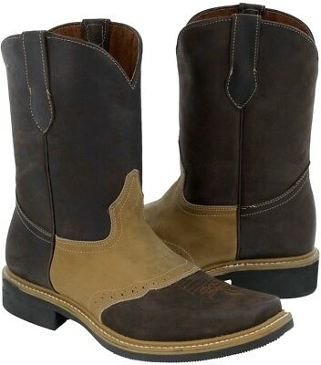 Mens Saddle Brown Vamp Cowboy Boots Genuine Sand Leather Western Rodeo Toe
