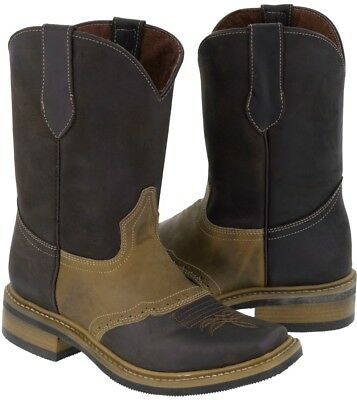 Mens Saddle Vamp Cowboy Boots Brown Sand Genuine Leather Western Rodeo Toe