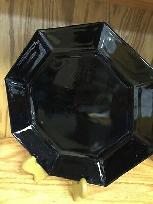 "Vintage Luminarc Arcoroc France Black Octagon 9 3/4"" Plate Glass"