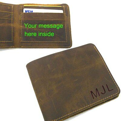 Personalized Engraved Men's Leather Bifold Wallet, Valentine Birthday Gift