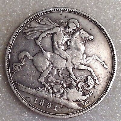 UK Great Britain - Victoria Crown 1891 - Large Silver Coin
