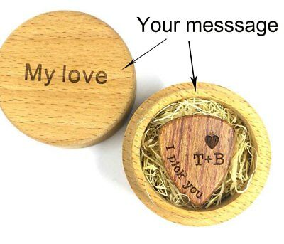 Personalized Engraved Wooden Guitar Pick Plectrum Wood Box Valentine Gift