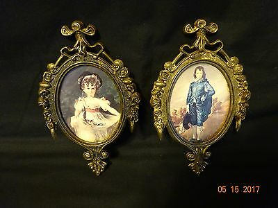 Set of 2 Antique Victorian Brass Metal Oval Photo Frame Made in Italy