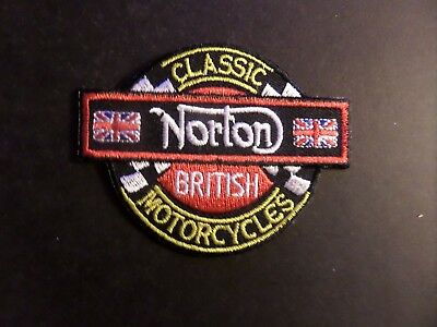 NORTON MOTORCYCLE RED & black & GOLD Embroidered 2-3/8 x 3-1/4 Iron On Patch