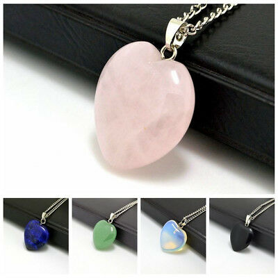 Stone Heart Gemstone Rock Natural Quartz Healing Point Chakra Pendant Necklace