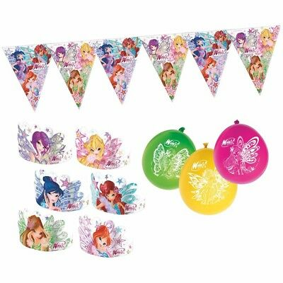 Winx Club - Butterflix - Set Party Wimpelkette Ballons Stirnbänder