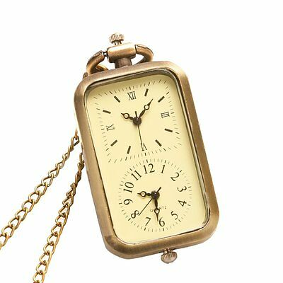 Retro Bronze Quartz Pocket Watch Dual Double Time Zone Movement Necklace