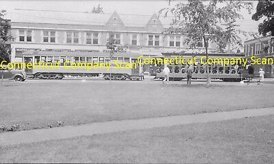 Connecticut Company Original B&w Trolley Negative Car 1911 & An Open Car