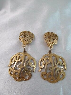 Vintage MADE IN ITALY BRASS FILIGREE DOUBLE DANGLE EARRINGS, Large, Unique