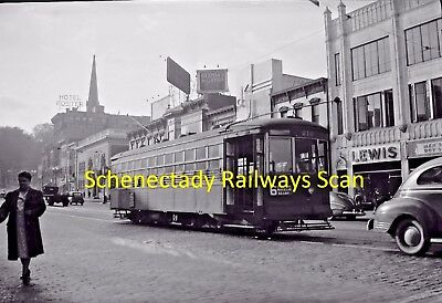 Schenectady Railway Company Original B&w Trolley Negative Of Car 210 In 1945