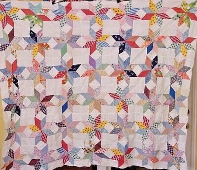 Antique Star Quilt Top  Novelty Prints Hand Pieced 1930S Topper