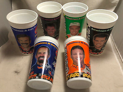 Set of 6 Different 1999 NASCAR Coca-Cola Coke Racing Family 44oz Plastic Cups