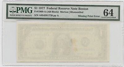 1977 $1 Missing Front Print Pmg 64