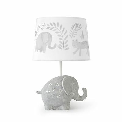 New Levtex Baby Jungalo Grey Elephant Lamp Base and Shade Model:81BDED80