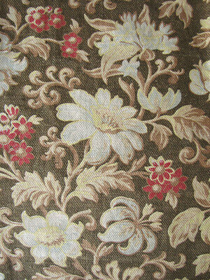 Antique French printed fabric 19th century floral design faded earth tones