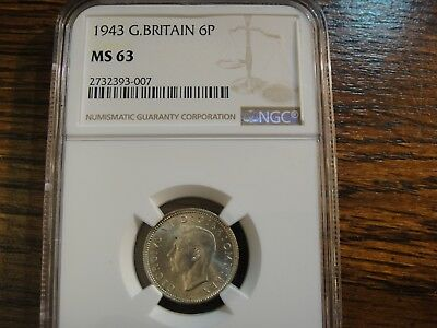 1943 Great Britain Uncirculated Silver 6 Pence. George VI. NGC MS63. PQ.
