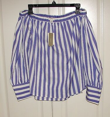 0ac016ab5a9 NWT J Crew sz 10 Thomas Mason blue white stripe off the shoulder top