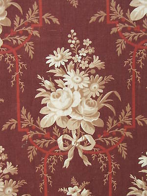Antique French fabric c1860 madder roller Linen cotton
