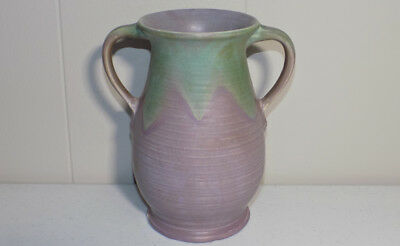 """antique Muncie Pottery handled vase Green over Lilac Arts & Crafts 7.25"""" tall"""