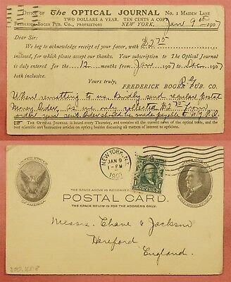 #300 On 1907 Uprated Optical Journal Advertising Postal Card Ny To England