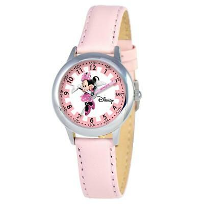 New Disney Girl's Minnie Mouse Stainless Steel Watch - Light Pink Leather Strap