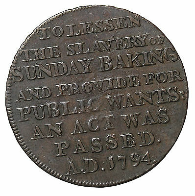 1795 Middlesex Lesson The Slavery Of Baking Halfpenny Conder Token DH-297