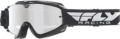 Fly Racing Zone Pro Goggles Adult Dirt Bike MX Black White Chrome, Smoke Lens