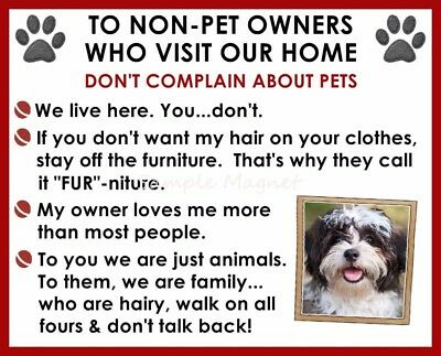 SHIH TZU House Rules for Non Pet Owners Funny Fridge Magnet