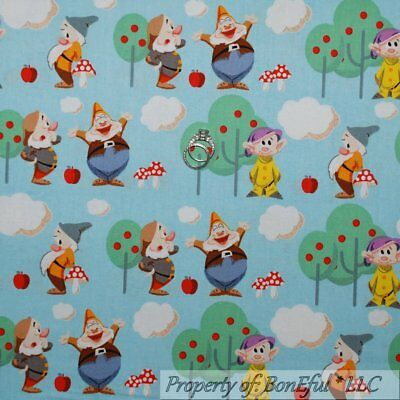 BonEful Fabric FQ Cotton Quilt Blue Snow White Seven 7 Dwarfs Disney Scenic Tree