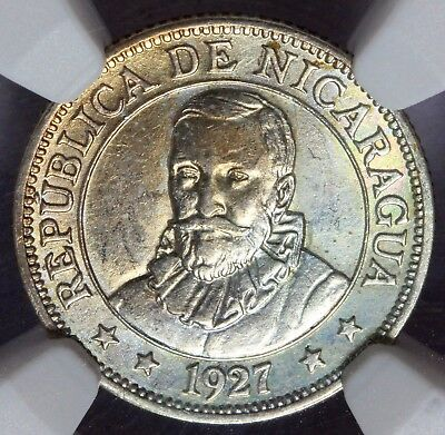 1927 Nicaragua 10 Centavos Silver Coin - NGC MS 62 - KM# 13