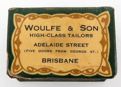 "RARE EARLY 1900's WOULFE & SON, BRISBANE ""HIGH CLASS TAILORS"" MATCHBOX HOLDER."