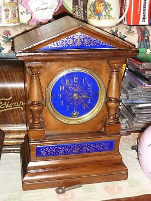 beautiful victorian portico clock purple blue enamel quality1880s f bolt clifton