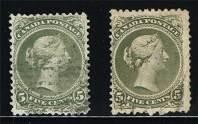 CANADA LARGE QUEENS #26a  PERF 12X12 VF #26 iv PERF 11.75X12 FINE (FAY2