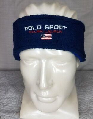 Vintage Polo Sport Navy Blue fleece Headband One Size Fits All Made In The USA