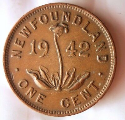 1942 NEWFOUNDLAND CENT - AU - Great Low Mintage Coin - FREE SHIP - Canada Bin Z
