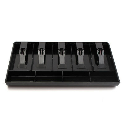 5 Bills 4Coins Money Tray Store Cash Drawer Security Register Storage Box Black