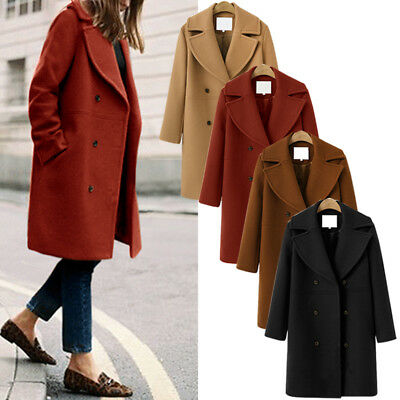 Womens Winter Warm Wool Lapel Long Coat Trench Parka Jacket Overcoat Outwear Hot