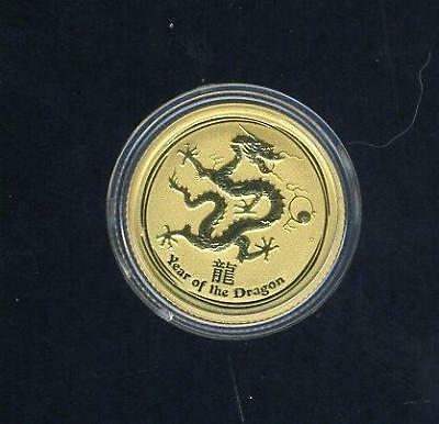 2012 Australian $15.00 1/10 Ounce Year of The Dragon Gold Coin