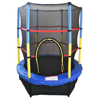 "4.5FT 55"" Trampoline With Enclosure Safety Net Skirt Junior Kid Outdoor Activity"
