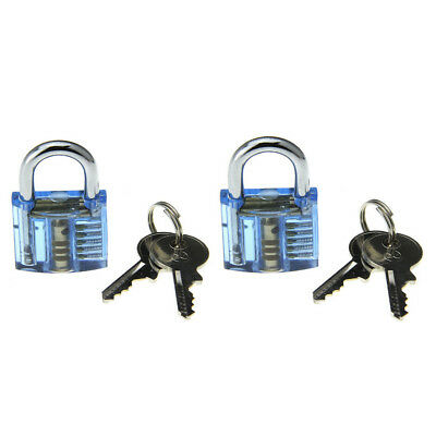 ABS +stainless steel Transparent Blue Pick Skill Training Practice Padlock Lock