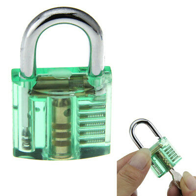 Green Mini Transparent See-Through Training Practice Padlock Lock With 2 keys