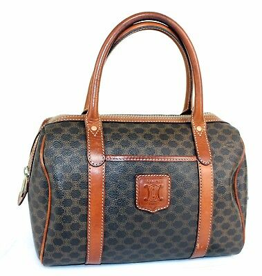 d2b4eb8d1c Auth CELINE Macadam Coated Canvas Brown Leather Mini Boston Hand bag Italy  M09