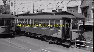 Atlantic City & Shore (Ac&s) Original B&w Trolley Negative Of Car 104 In 1941
