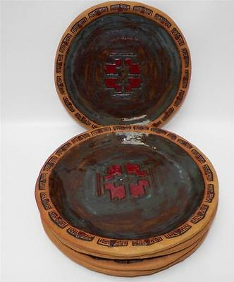 Artisan Pottery Clay Southwest Stoneware Rustic Set of 5 Salad Plates