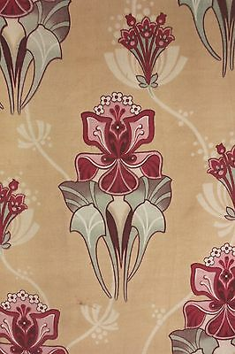 Antique French Art Nouveau printed cotton fabric design 95 inches by 29 wide