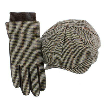 'Liam' Wool Check Bakerboy Cap & Matching Brown Leather Gloves