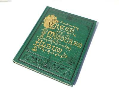 Antique Victorian Edwardian Embossed Crests Monograms ALBUM 19 Pages Full  #7